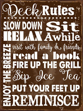Deck Rules Metal Sign, Family, Rules to Live By, Den Decor, Deck Decor