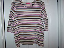 Liz Lange Maternity M, Casual Striped cotton blend top, 3/4 length pink/blue