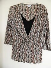 DRESSBARN  Multi color Accordion V Neck 3/4 sleeve top Shirt  Blouse Tunic Sz XL