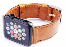 Quality Handmade Vintage Orange Leather Watch Strap Band Fits Apple Watch 42mm