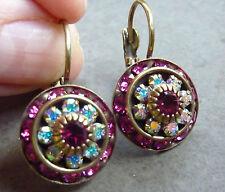 LIZ PALACIOS  Round Drop Earrings. Antique brass Beautiful Pin Fucsia Swarovsky