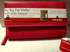 MUNDI My Big Fat Wallet Textured Pink Safe Keeper Holds Phone Checkbook Rear Zip