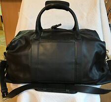 Coach Black Leather Carry on Travel Tote Duffle Bag 0502 Mint Condition