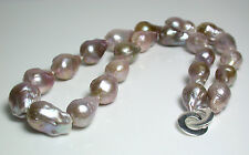 Multi-colour AAA 10-14mm Kasumi-like freshwater pearl & sterling silver necklace