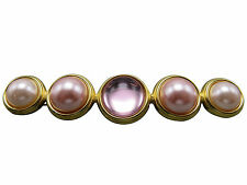 Monet Vintage Bar Brooch Pin Pink Lucite Faux Pearl Designer Jewelry 394g