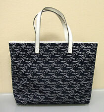 NEW Authentic GUCCI Canvas/Leather Tote BAG Handbag Large Navy/White