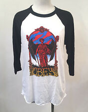 Obey Women's Baseball Raglan By the Sword White/Black Size S NEW Angel Demon