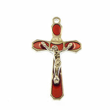 5cm red cross with raised Jesus - silver colour metal crucifix Christian gift