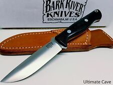 Bark River Fixed Blade Knife New Gunny Black Canvas Micarta 07-011MBC