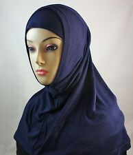 New Two Piece Egyptian Cotton Hijab Amira Islamic Head Scarf Hejab - Navy Blue