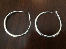 """New Sterling Silver Plated 2"""" Smooth & Shiny Round Hoop Earrings w/Omega Backs"""