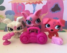 Littlest Pet Shop Bulk x 3 #2870#2867#2886 Pink White Music Note Dog Accessories