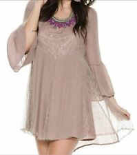 Swell Rolling Hills Size 14 Mocha Bell Sleeve Fully Lined Part Lace Dress