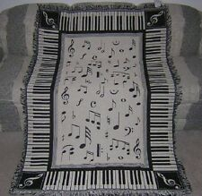New 88 Piano Keys Keyboard Afghan Throw Blanket Notes Chords Music Teacher Gift