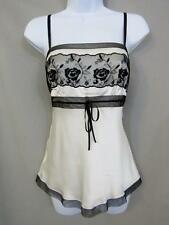 Ann Taylor Top Size 6 Silk Off White Black Lace Cami Tank Floral Sleeveless new