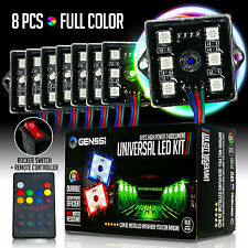 8pc LED Rock Lights Under Body LED Lighting RGB RF Remote Control