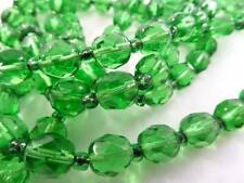 "48"" FLAPPER OLD CZECH BOHEMIAN FACETED EMERALD GREEN GLASS BEAD NECKLACE JEWELRY"