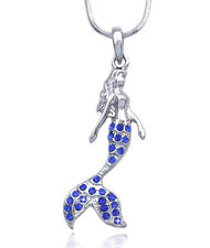 Fairytale Royal Blue Crystal  Mermaid Pendant Necklace Girl Jewelry n2085rb