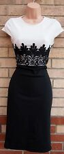 EVITA BLACK WHITE CROCHET WAISTBAND PENCIL BANDAGE PARTY FORMAL TUBE DRESS 10 S