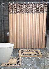 Leopard 15-PIece Bathroom Accessories Set Rugs Shower Curtain Bath Beige & Brown