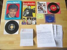 Elvis Presley Lot:  45rpm records, HC Book, Calendars, stamps, CD
