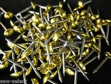 100 small 6mm NON RUST - UPHOLSTERY NAILS FURNITURE STUDS - SOLID BRASS R5 Pins