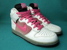 NIKE DUNK HIGH Women's White/Dark Pink Leather/Textie Trainers UK Size 6/EU 40