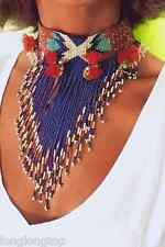 AUTHENTIC ZARA ETHNIC POM POM TASSEL FRINGE BEADED NECKLACE NEW
