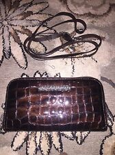 AUTHENTIC BRIGHTON CHER BROWN PATENT EMBOSSED LEATHER WALLET CLUTCH CROSSBODY