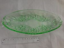 Oval Uranium Glass Tray / Dish - Flower Pattern