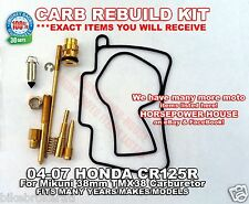 CARBURETOR CARB REBUILD KIT MAIN SLOW JET GASKET 04 05 06 07 HONDA CR125R CR125