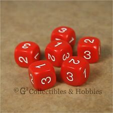 NEW Set of 6 D3 Six Sided 1 to 3 Twice Red Game Dice D&D RPG 16mm