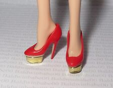 * SHOES ~ STANDARD BARBIE DOLL CHARLOTTE OLYMPIA RED GOLD STILETTO HIGH HEELS