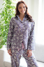 Ladies Woven Long Sleeve Grey Bird Print PYJAMA SET by Cyberjammies - SIZE 22