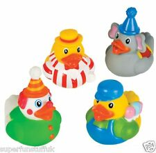 SET OF 4 CIRCUS CARNIVAL RUBBER DUCK DUCKIES NOVELTY TOY GIFT  - JUGGLER, CLOWN