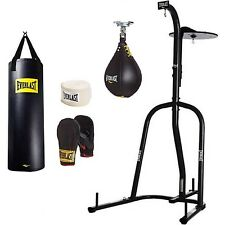 Everlast Dual Station Heavy Bag Stand 100-lb. Punching Boxing Kit Speedbag