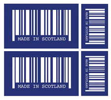 4 X MADE IN SCOTLAND BARCODE VINYL CAR VAN IPAD LAPTOP STICKER