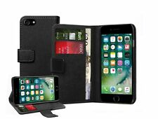 Genuine Leather Black Wallet Flip Case Cover Pouch Saver For Apple iPhone 7 PLUS