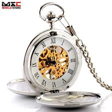 Vintage Silver Double Hunter Skeleton Mechanical Windup Pocket Watch Chain Retro