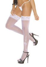 Bridal Stockings in White or Ivory with Lace Tops and Flock Wedding Motifs
