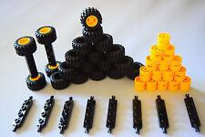 ☀️NEW LEGO Car Parts 50Pcs: 20 BLACK Tires 20 Yellow Rims 10 Black Axles 5 Big