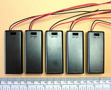 Battery holder for 2 X 'AAA' (UM-4) cell - with leads - hard case -  pack of 5