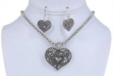 """18"""" Adjustable Silver Toned Necklace With Rhinestone Heart Pendant & Earrings"""