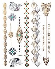 GOLD Tattoo Flash Tattoos Pfeile Armbänder Ornamente Schmetterlinge YS-80