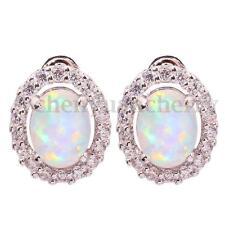 White Fire Opal Zircon Women Gemstone 925 Silver Stud Earrings 12mm OH2007
