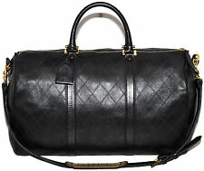 "CHANEL Paris 20.25"" Inch Quilted Calfskin Leather Carry On Duffle Travel Bag"