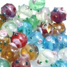 50 pieces Mixed Lampwork Glass Round Beads - 12mm - A4521