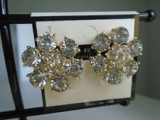 Earring CLIP ON Clear Crystals Flower Cluster w/Comfort Closure
