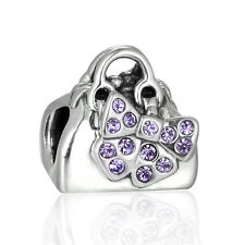Handbag Silver Charm bead Decorated with Sparking Bow.