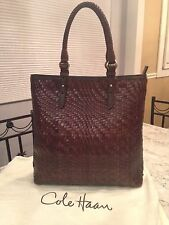 Cole Haan Genevieve MINT! Woven Leather Weave Tote Hobo Shoulder Hand Bag Purse